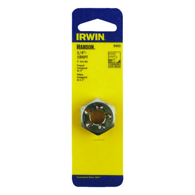 Irwin Hanson High Carbon Steel 1/4 in.-18NPT SAE Hexagon Die 1 pc.