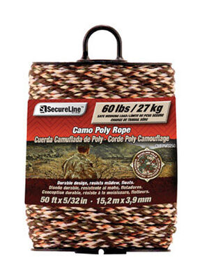 SecureLine 5/32 in. Dia. x 50 ft. L Braided Poly Rope Camouflage