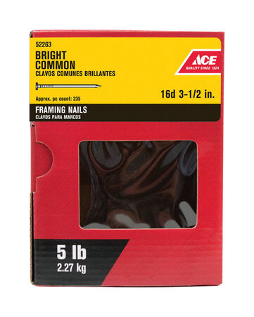 Ace Round 3-1/2 in. L Common Nail Smooth Bright Steel 5 lb.