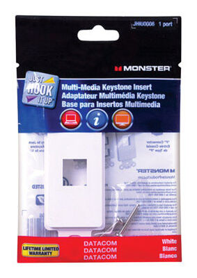 Monster Just Hook It Up 1 gang White Plastic Cable/Telco Multi-Media Keystone Wall Plate 1 pk