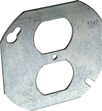 Raco Octagon Steel Box Cover For 1 Duplex Receptacle Gray