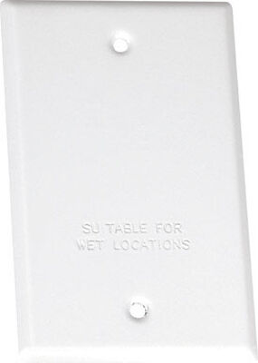 Sigma Rectangle Steel 1 gang Blank Box Cover For Wet Locations White