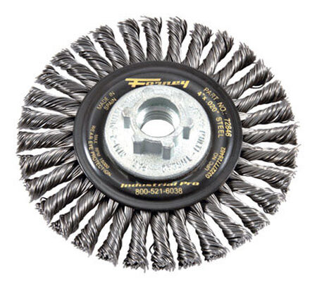 Forney 4 in. Dia. Stringer 5/8 in - 11 and M14 x 2.0 Wire Wheel Brush 15000 rpm