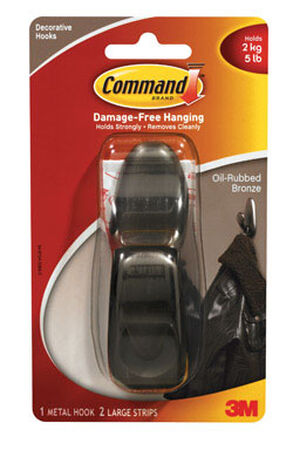 3M Command Large Forever Classic Hook 4-1/8 in. L Metal 5 lb. 1 pk