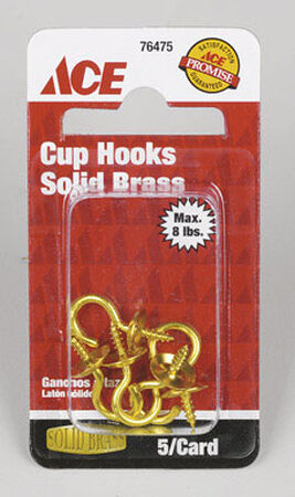 Ace 3/32 0.875 in. L Solid Brass Brass Cup Hook 1 pk