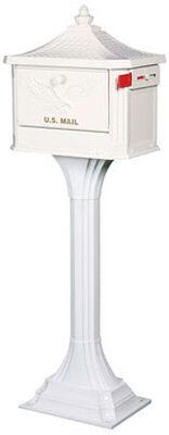 Solar Group Pedestal Mailbox Cast Aluminum 50-1/4 in. x 18 in. x 12-1/2 in. Aluminum White