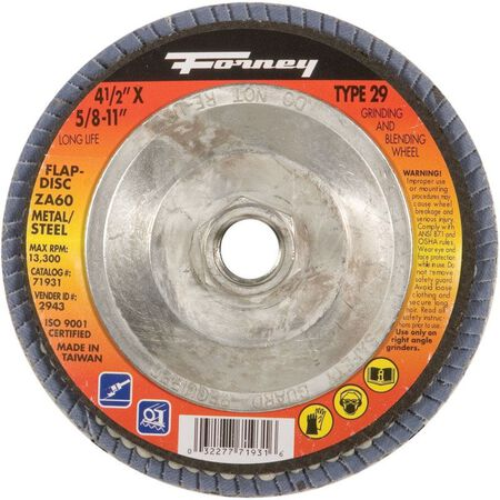 Forney 4-1/2 in. Dia. x 5/8-11 in. Blue Zirconia Thread Arbor Flap Disc 80 Grit