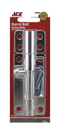 Ace Barrel Bolt 4 in. Zinc For Doors Chests and Cabinets