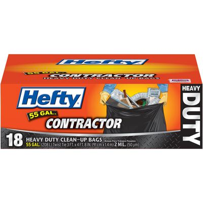 Hefty Contractor 55 gal. Trash Bags Twist Ties 18 pk