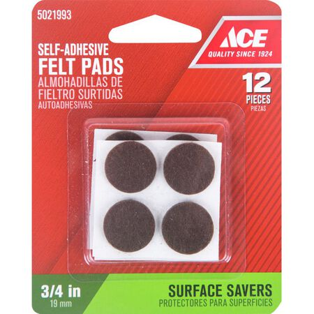 Ace Felt Round Self Adhesive Pad Brown 3/4 in. W 12 pk