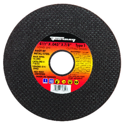 Forney 4-1/2 in. Dia. x .045 in. thick x 7/8 in. Metal Cut-Off Wheel