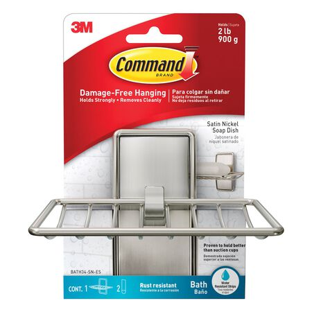 3M COMMAND Medium ADHESIVE STRIPS Holder 4.92 in. L PLASTIC 2 lb. 1 pk