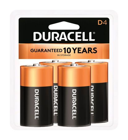 Duracell Coppertop D Alkaline Batteries 1.5 volts 4 pk