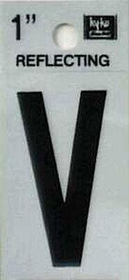 Hy-Ko Self-Adhesive Black Reflective Vinyl Letter V 1 in.