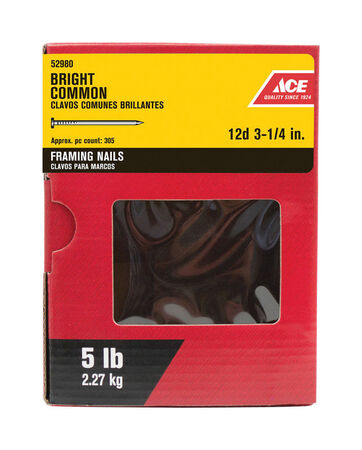 Ace Flat 3-1/4 in. L Framing Nail Smooth Bright Steel 5 lb.
