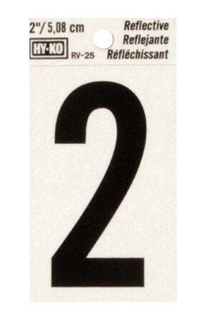 Hy-Ko Self-Adhesive Black Reflective Vinyl Number 2 2 in.