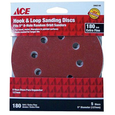 Ace 5 in. Dia. Sanding Disc 180 Grit Extra Fine Hook and Loop 5 pk