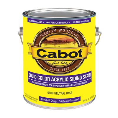 Cabot Solid Color Acrylic Siding Stain Neutral Base Tintable 1 gal.