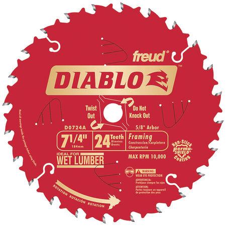 Freud Diablo 7-1/4 in. Dia. 24 teeth Carbide Tip Titanium Framing Blade For Wet Lumber