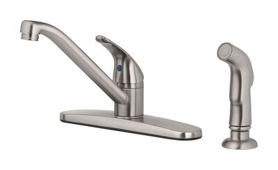 OakBrook Essentials One Handle Brushed Nickel Kitchen Faucet Side Sprayer Included