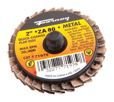 Forney 2 in. Dia. Aluminum Oxide Thread Arbor Flap Disc 80 Grit