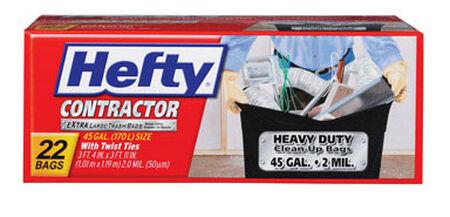 Hefty Contractor 45 gal. Trash Bags Twist Ties 22 pk