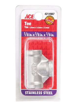 Smith-Cooper 1/8 in. Dia. x 1/8 in. Dia. x 1/8 in. Dia. FPT To FPT To FPT Stainless Steel Tee