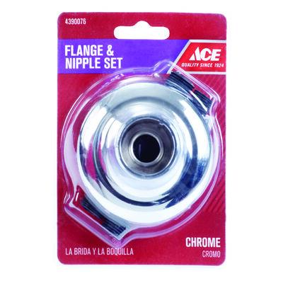 Ace Chrome Flange and Nipple Set