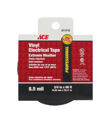 Ace 3/4 in. W x 66 ft. L Vinyl Electrical Tape Black