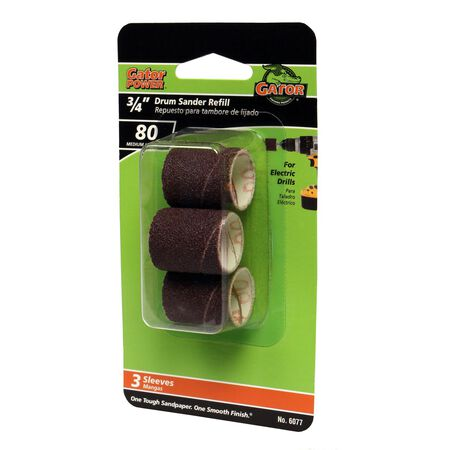 Gator Grit 0.5 in. Dia. x 0.3 in. Dia. 80 Grit Abrasive Sleeve Refill Aluminum Oxide