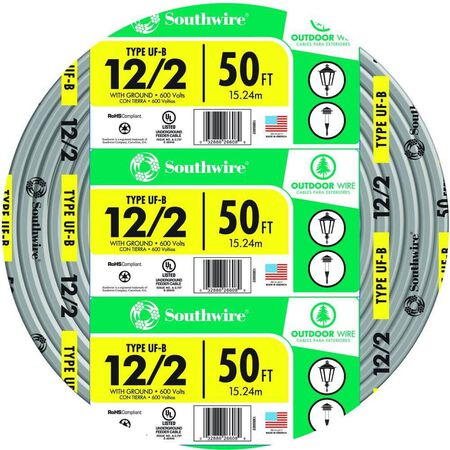 Southwire 50 ft. 12/2 Type UF-B WG Underground Feeder Underground Cable Gray