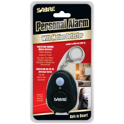 Sabre Black Personal Alarm with Motion Detector