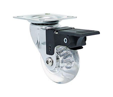 Shepherd Hardware Polyurethane 2 in. Dia. Swivel Brakes Included Caster Clear 110 lb.