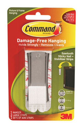 3M Command Large Universal Picture Metal Hanger 1 pk 5 lb. 3 in. L