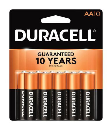 Duracell Coppertop AA Alkaline Batteries 1.5 volts 10 pk