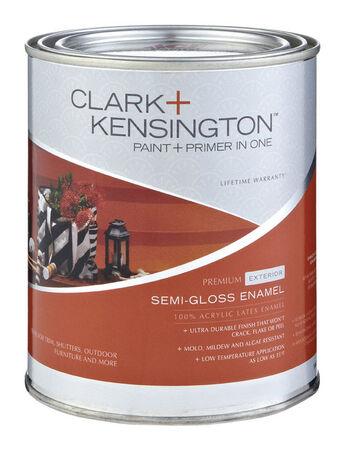 Clark+Kensington Exterior Exterior Acrylic Latex Enamel Paint Tintable Base 1 qt.