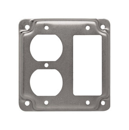 Raco Square Steel 2 gang Electrical Cover For 1 GFCI Receptacle and 1 Duplex Receptacle Silver