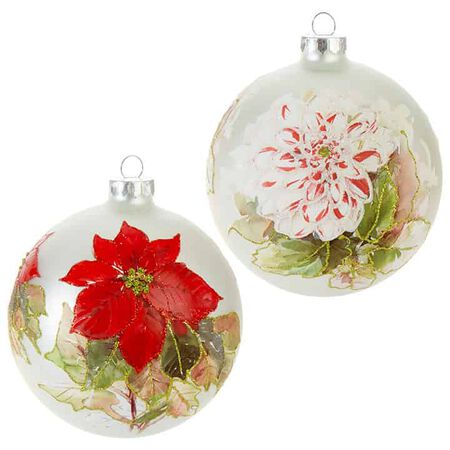 "4.75"" Floral Ball Ornament"