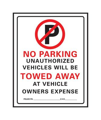 Hy-Ko English 19 in. H x 15 in. W Plastic Sign No Parking/Unauthorized Vehicles will be Towed