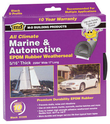 M-D Building Products Auto and Marine EPDM Rubber 10 ft. L x 5/16 in. Weather Stripping Black