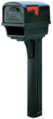 Solar Group Gibraltar Gentry Post Mounted Plastic Mailbox with Post Black 50 in. H x 21-3/4 i