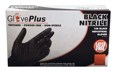 Gloveplus Nitrile Gloves Extra Large 100 pk Black