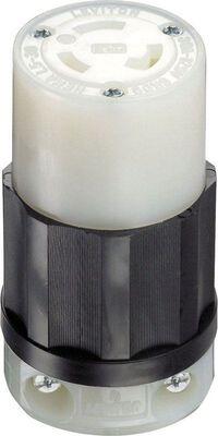Leviton Industrial Nylon Grounding Locking Connector L5-30R 2 Pole 3 Wire Black/White