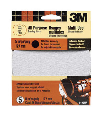 3M 5 in. Dia. Sanding Disc 120 Grit Fine Adhesive 5 pk