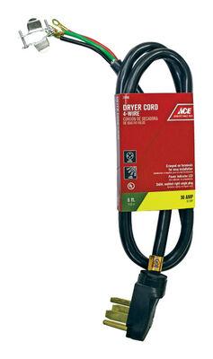 Ace 10/4 SRDT 250 volts Dryer Cord 4 Wire 6 ft. L Black