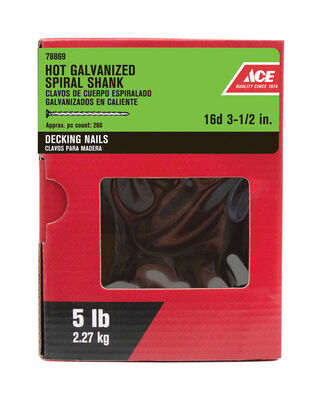 Ace Flat 3-1/2 in. L Deck Nail Spiral Hot-Dipped Galvanized Steel 5 lb.