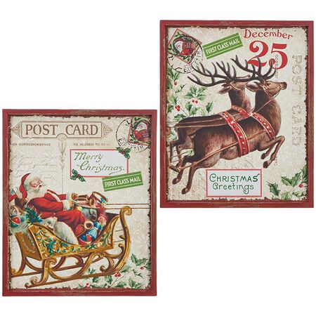 "19"" Santa and Reindeer Wall Art"