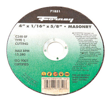 Forney 4 in. Dia. x 1/16 in. thick x 5/8 in. Masonry Cutting Wheel