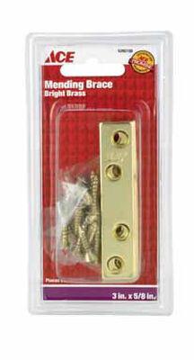 Ace Mending Brace 3 x 5/8 Brass 4 pk Clamshell