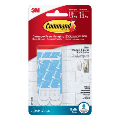 3M Command Assorted Bath Refill Adhesive Strips Foam 5 lb. 6 pk
